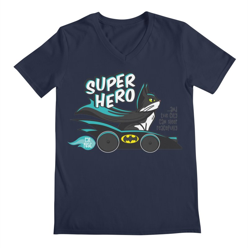Super Hero Men's V-Neck by SHOP CatPusic