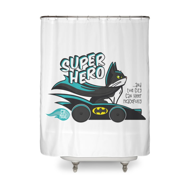 Super Hero Home Shower Curtain by SHOP CatPusic
