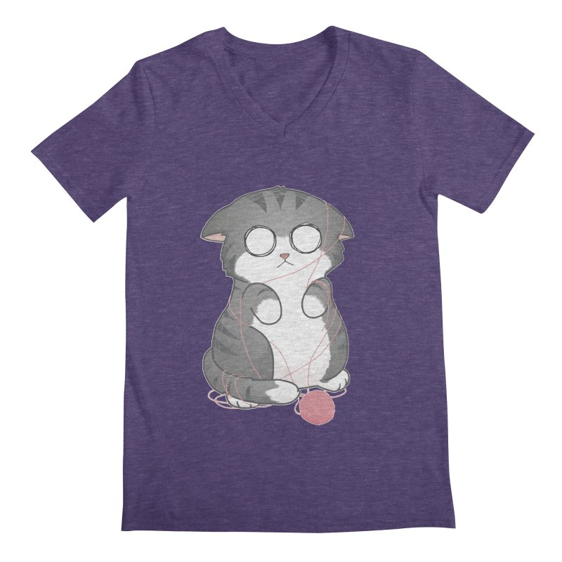 Tangled Kitty Men's V-Neck by Artist Shop of Cattoc C