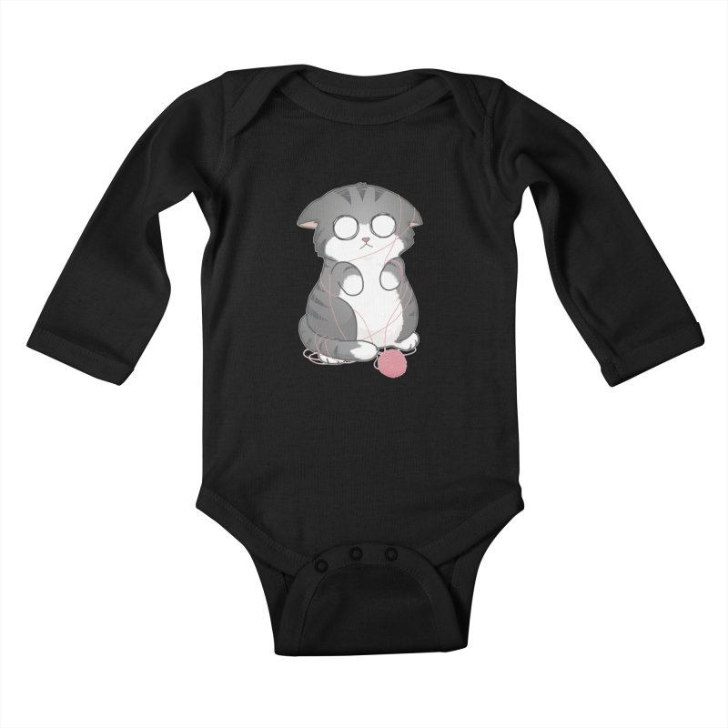 Tangled Kitty Kids Baby Longsleeve Bodysuit by Artist Shop of Cattoc C