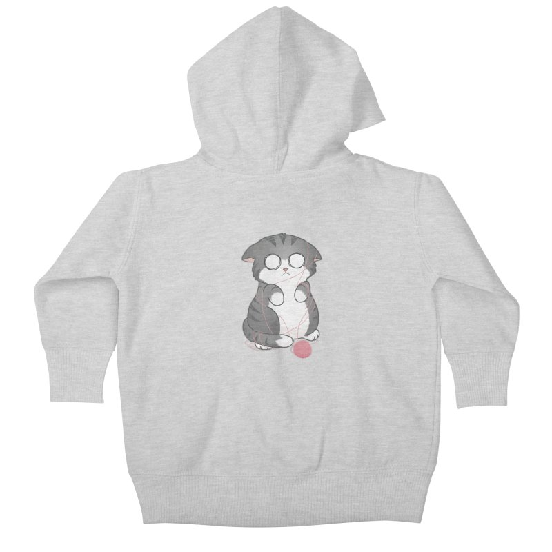 Tangled Kitty Kids Baby Zip-Up Hoody by Artist Shop of Cattoc C