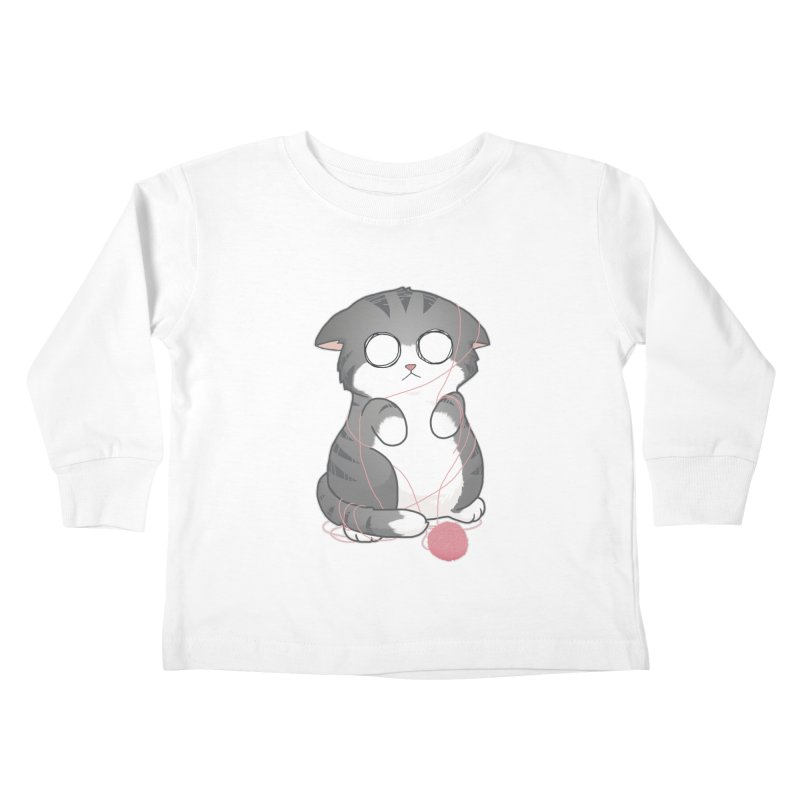 Tangled Kitty Kids Toddler Longsleeve T-Shirt by Artist Shop of Cattoc C