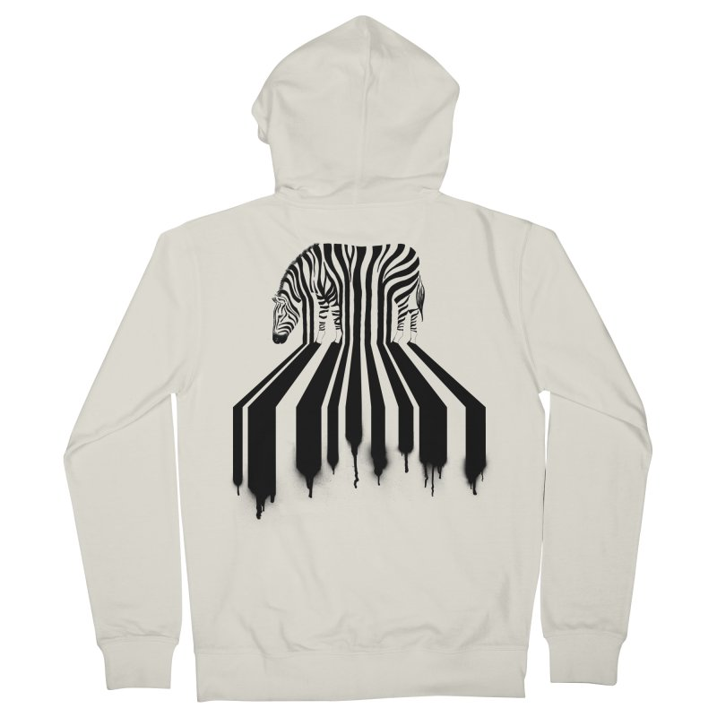 Zebra Crossing Men's French Terry Zip-Up Hoody by cazking's Artist Shop