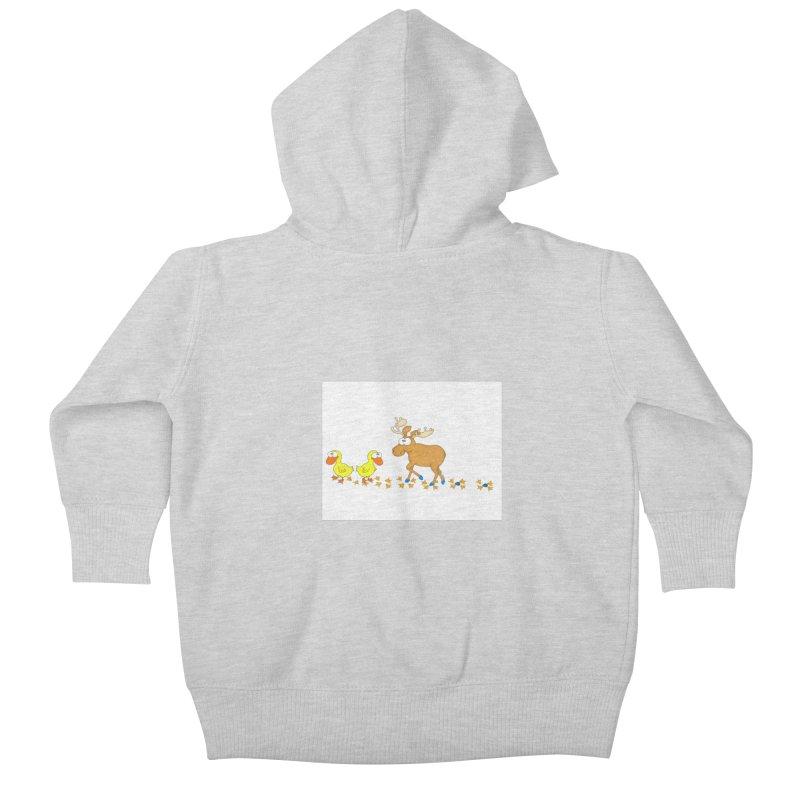 Duck, Duck, Moose   Kids Baby Zip-Up Hoody by cbaddesigns's Artist Shop
