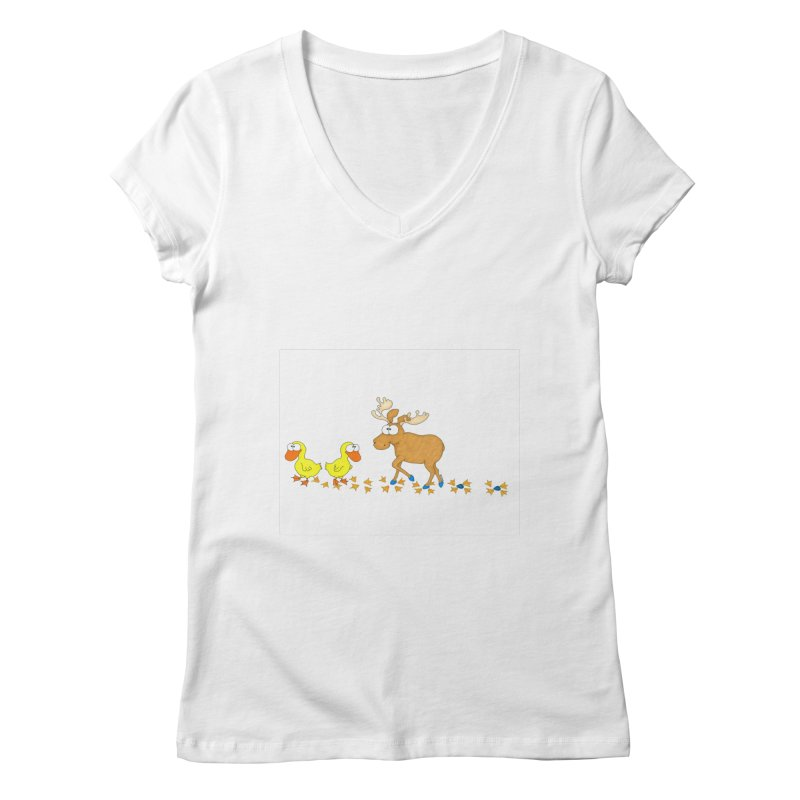 Duck, Duck, Moose   Women's V-Neck by cbaddesigns's Artist Shop