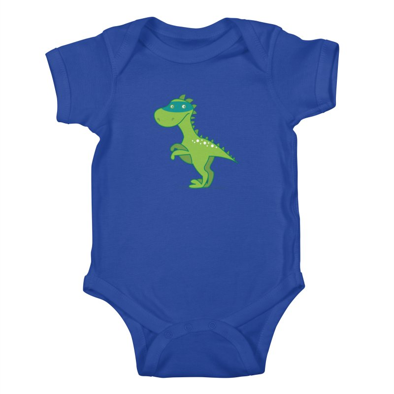 SUPER DINO in Kids Baby Bodysuit Royal Blue by CBHstudio's Artist Shop