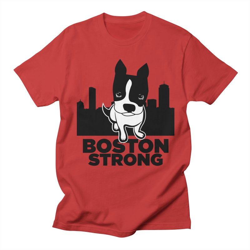 BOSTON (Terrier) STRONG in Men's Regular T-Shirt Red by CBHstudio's Artist Shop