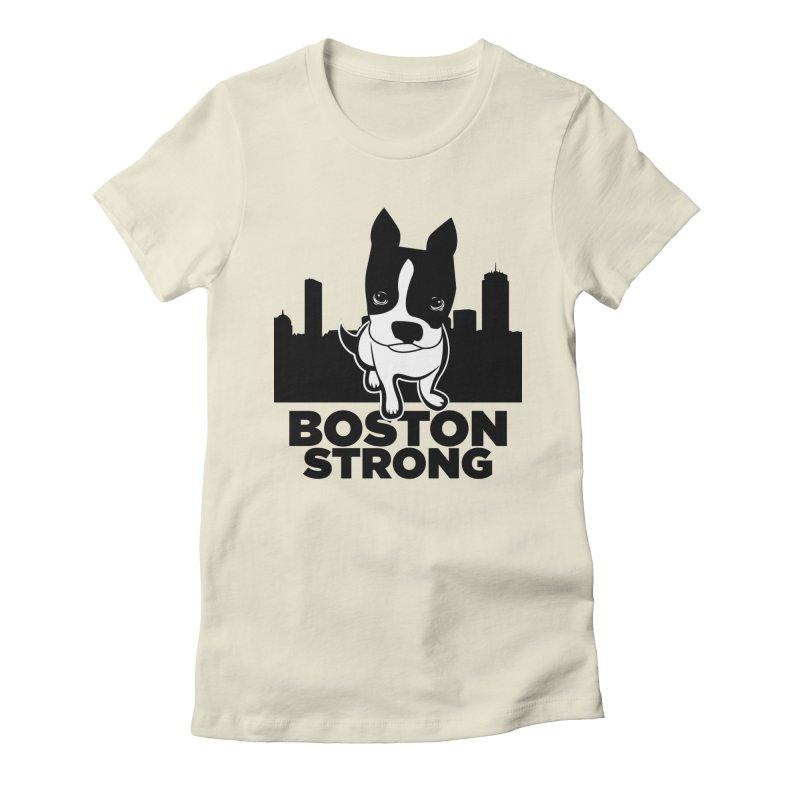 BOSTON (Terrier) STRONG Women's Fitted T-Shirt by CBHstudio's Artist Shop