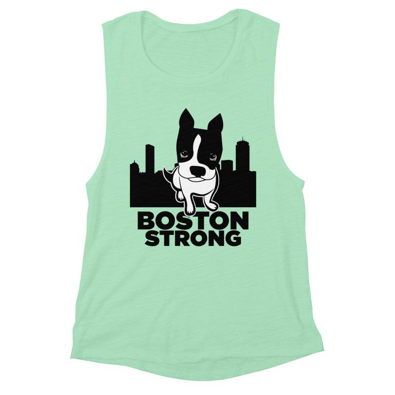 BOSTON (Terrier) STRONG Women's Muscle Tank by CBHstudio's Artist Shop