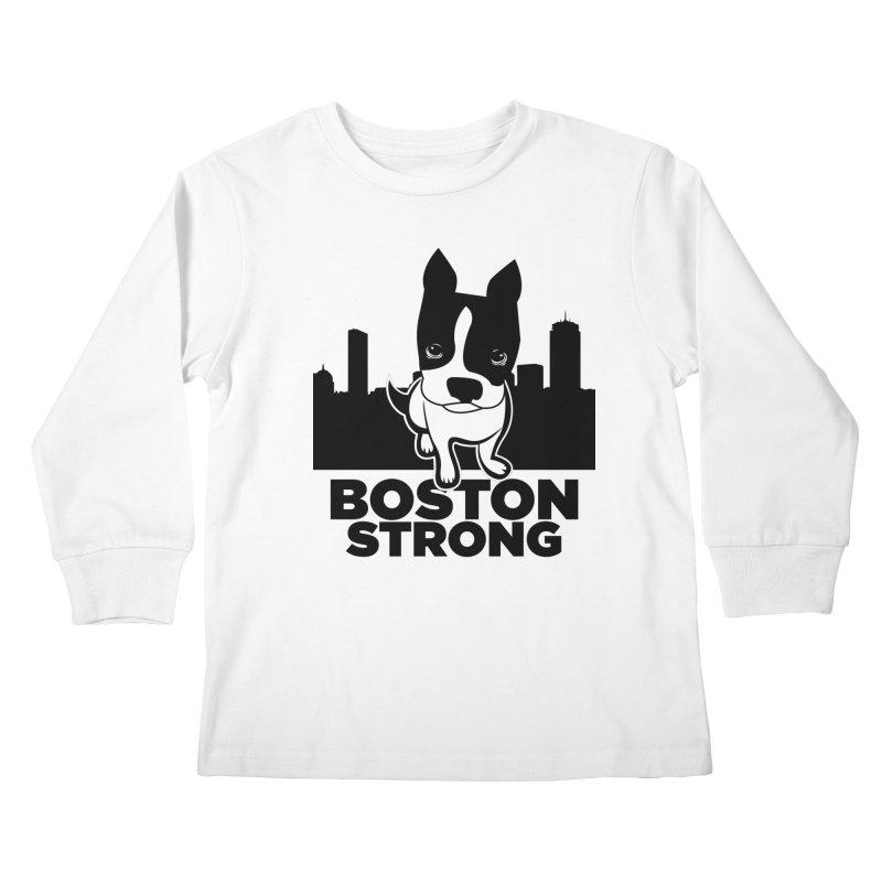 BOSTON (Terrier) STRONG Kids Longsleeve T-Shirt by CBHstudio's Artist Shop