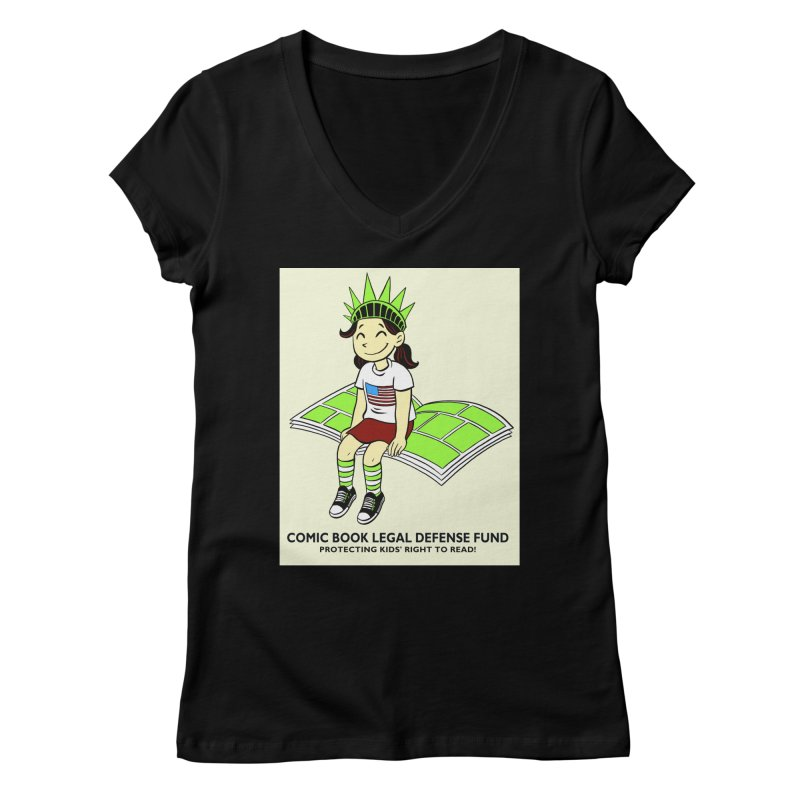 Lil' Libby Women's V-Neck by COMIC BOOK LEGAL DEFENSE FUND