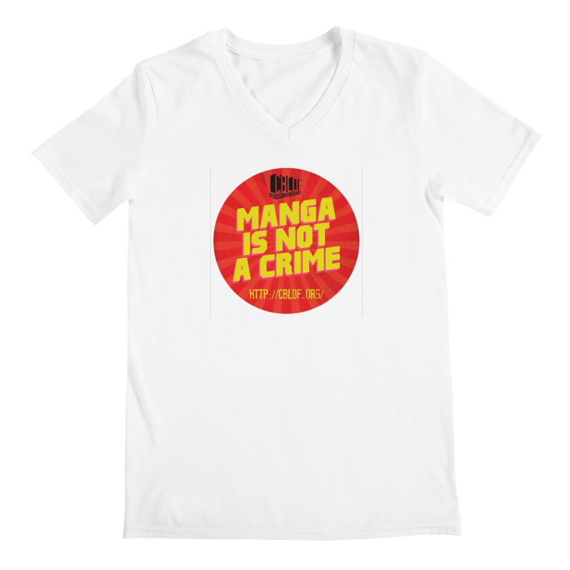 Manga is not a Crime! Men's Regular V-Neck by COMIC BOOK LEGAL DEFENSE FUND
