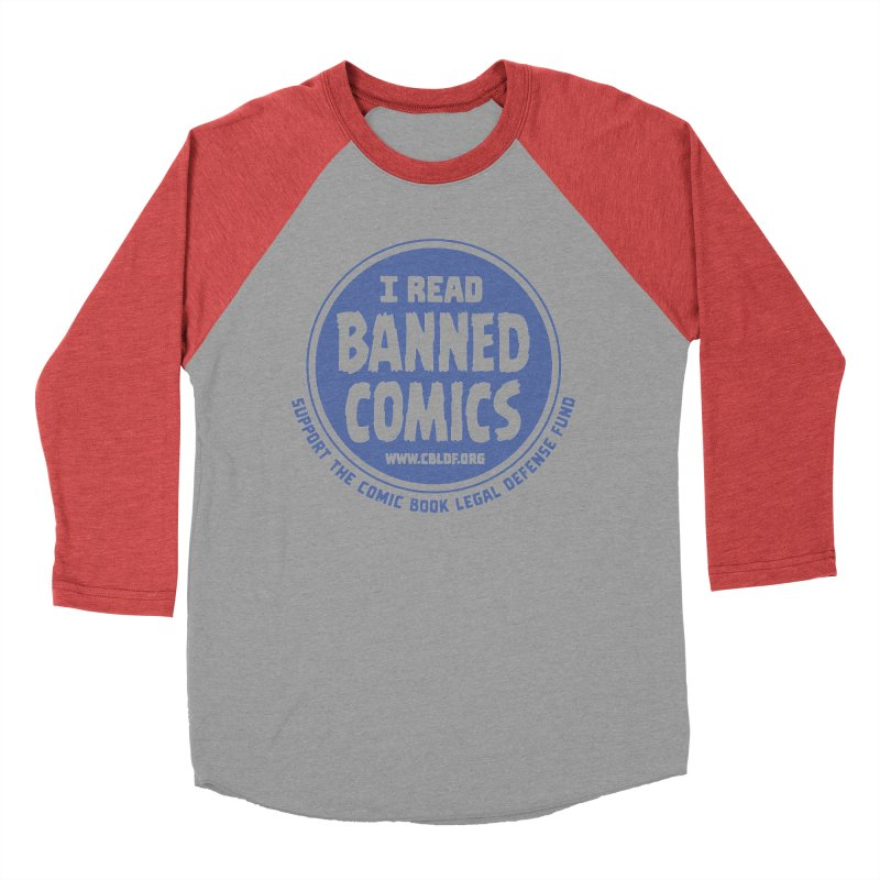 Banned Comics Men's Baseball Triblend T-Shirt by COMIC BOOK LEGAL DEFENSE FUND