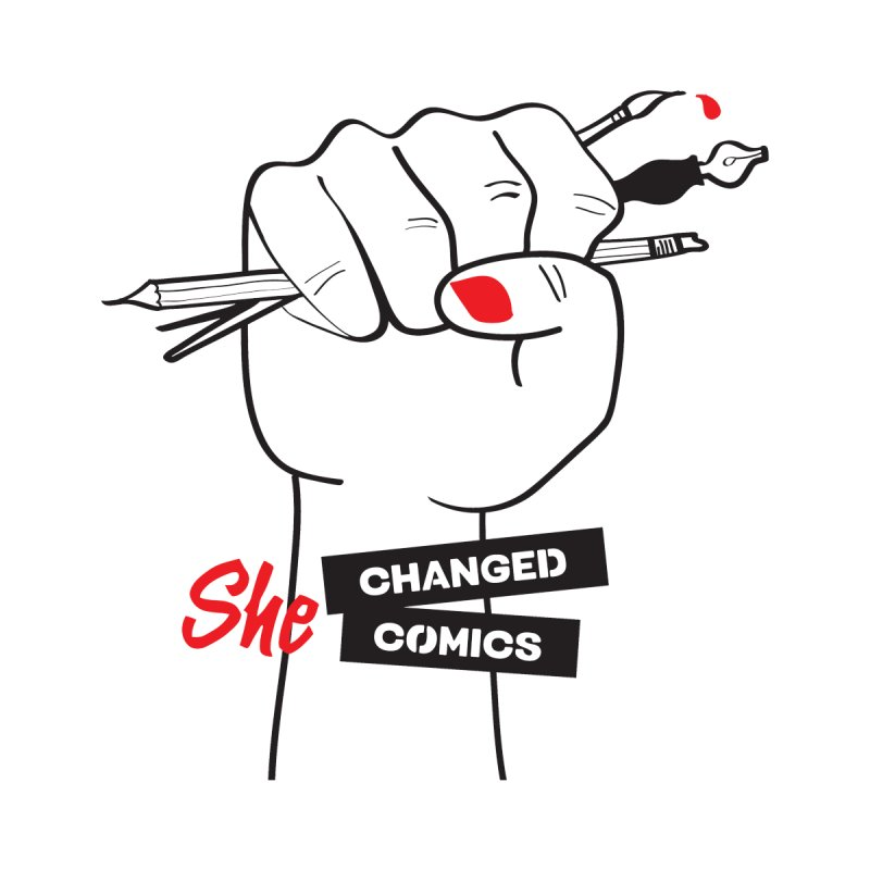 She Changed Comics Home Stretched Canvas by COMIC BOOK LEGAL DEFENSE FUND