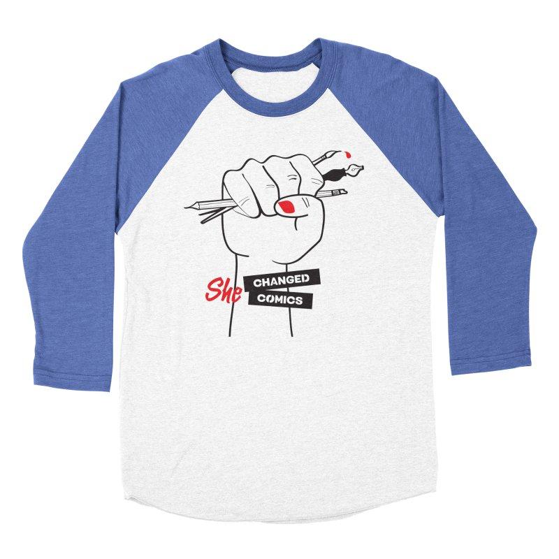 She Changed Comics Women's Baseball Triblend Longsleeve T-Shirt by COMIC BOOK LEGAL DEFENSE FUND