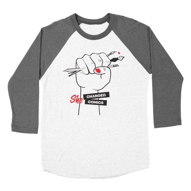 She Changed Comics Women's Baseball Triblend T-Shirt by COMIC BOOK LEGAL DEFENSE FUND