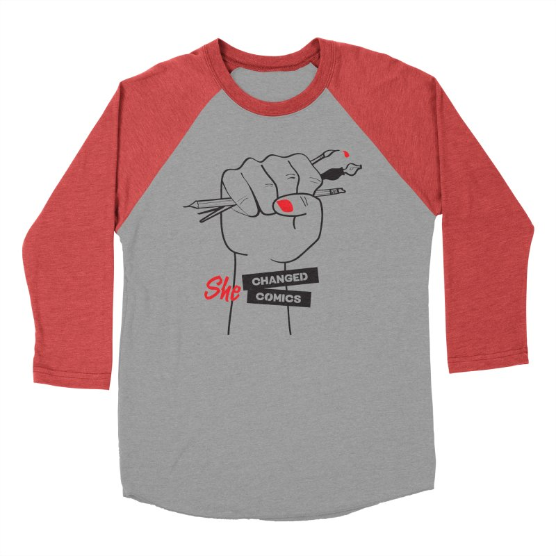 She Changed Comics Women's Baseball Triblend Longsleeve T-Shirt by COMIC BOOK LEGAL DEFENSE FUND