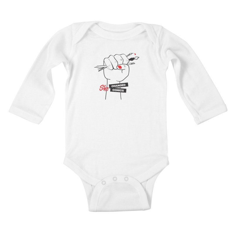 She Changed Comics Kids Baby Longsleeve Bodysuit by COMIC BOOK LEGAL DEFENSE FUND