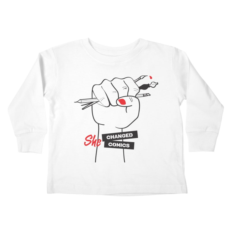 She Changed Comics Kids Toddler Longsleeve T-Shirt by COMIC BOOK LEGAL DEFENSE FUND