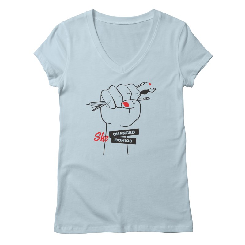She Changed Comics Women's Regular V-Neck by COMIC BOOK LEGAL DEFENSE FUND