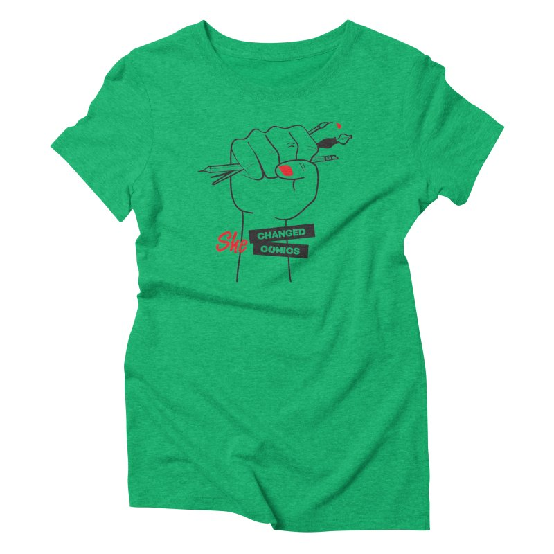 She Changed Comics Women's Triblend T-shirt by COMIC BOOK LEGAL DEFENSE FUND
