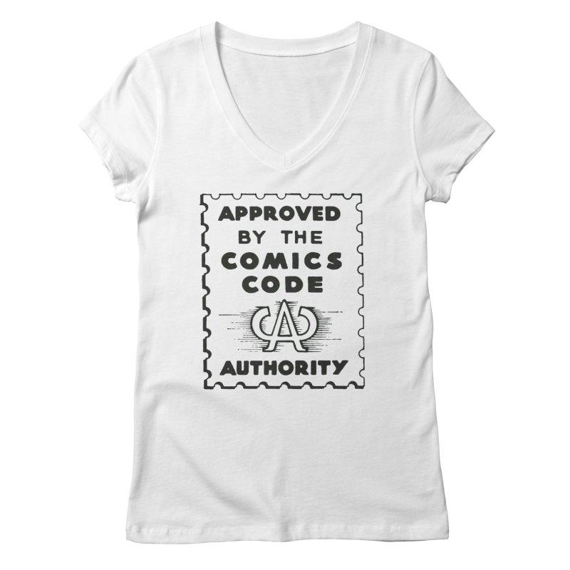 Comics Code Women's Regular V-Neck by COMIC BOOK LEGAL DEFENSE FUND