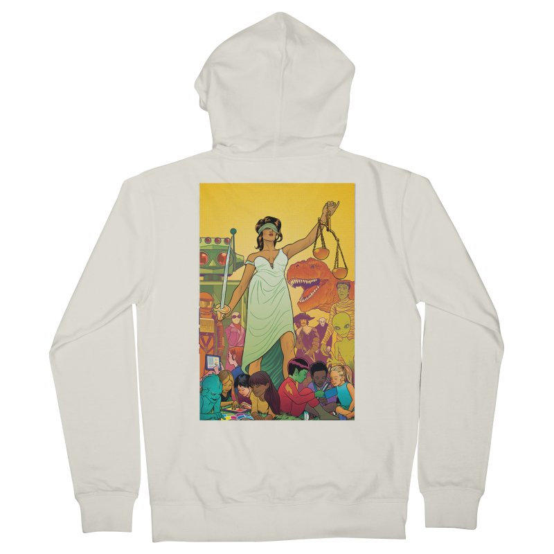 Lady Liberty - Michael Allred  Men's Zip-Up Hoody by COMIC BOOK LEGAL DEFENSE FUND