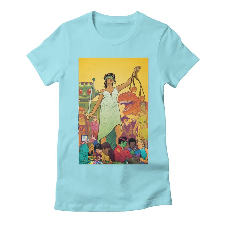 Lady Liberty - Michael Allred  Women's Fitted T-Shirt by COMIC BOOK LEGAL DEFENSE FUND