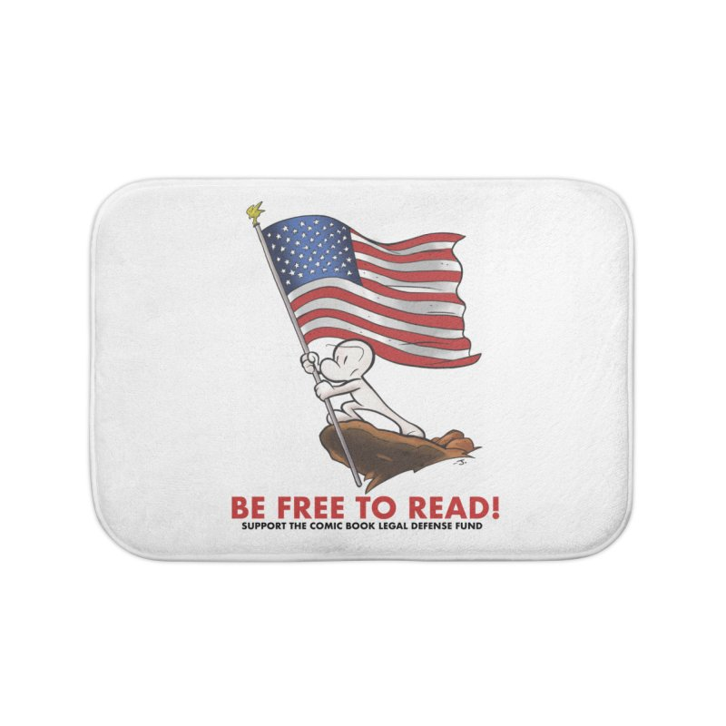 BONE with FLAG by JEFF SMITH Home Bath Mat by COMIC BOOK LEGAL DEFENSE FUND