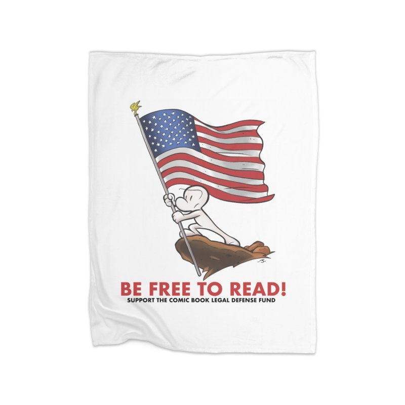 BONE with FLAG by JEFF SMITH Home Blanket by COMIC BOOK LEGAL DEFENSE FUND