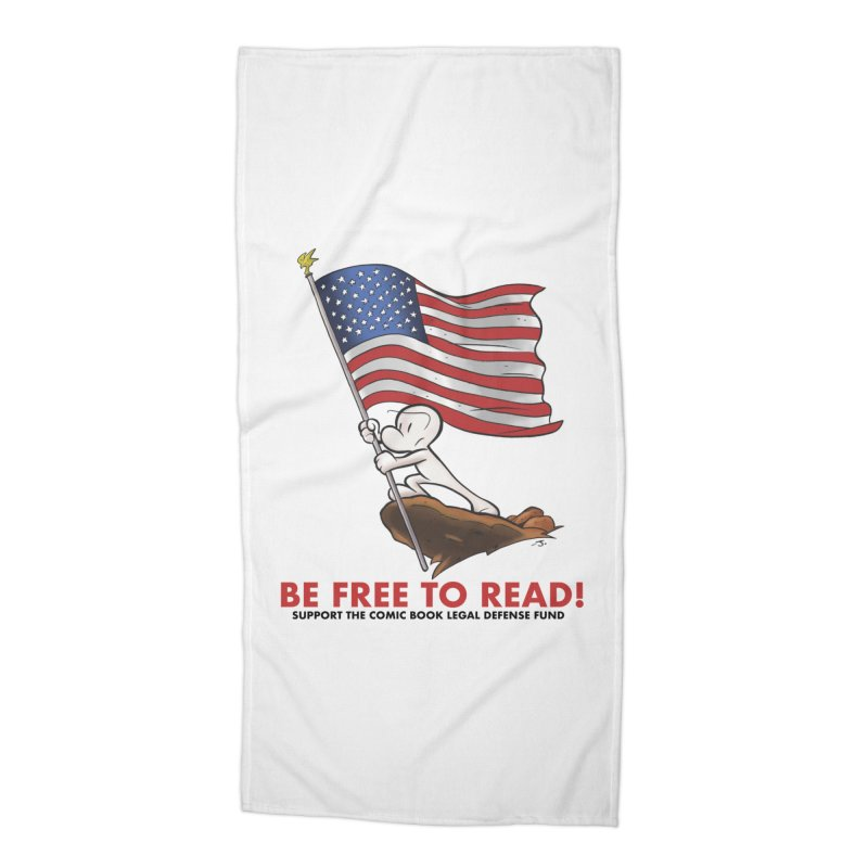 BONE with FLAG by JEFF SMITH Accessories Beach Towel by COMIC BOOK LEGAL DEFENSE FUND
