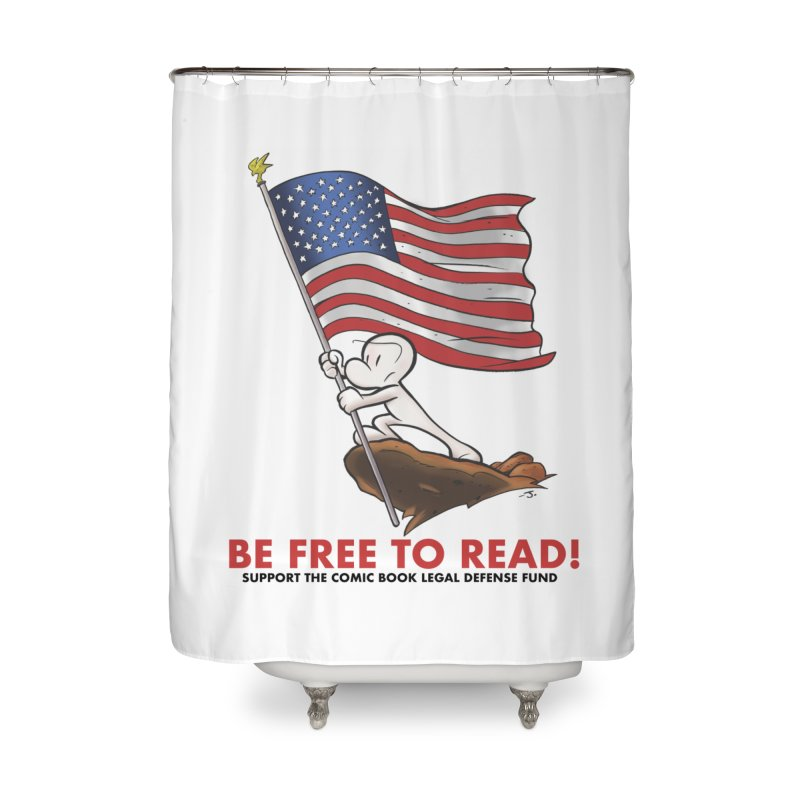 BONE with FLAG by JEFF SMITH Home Shower Curtain by COMIC BOOK LEGAL DEFENSE FUND