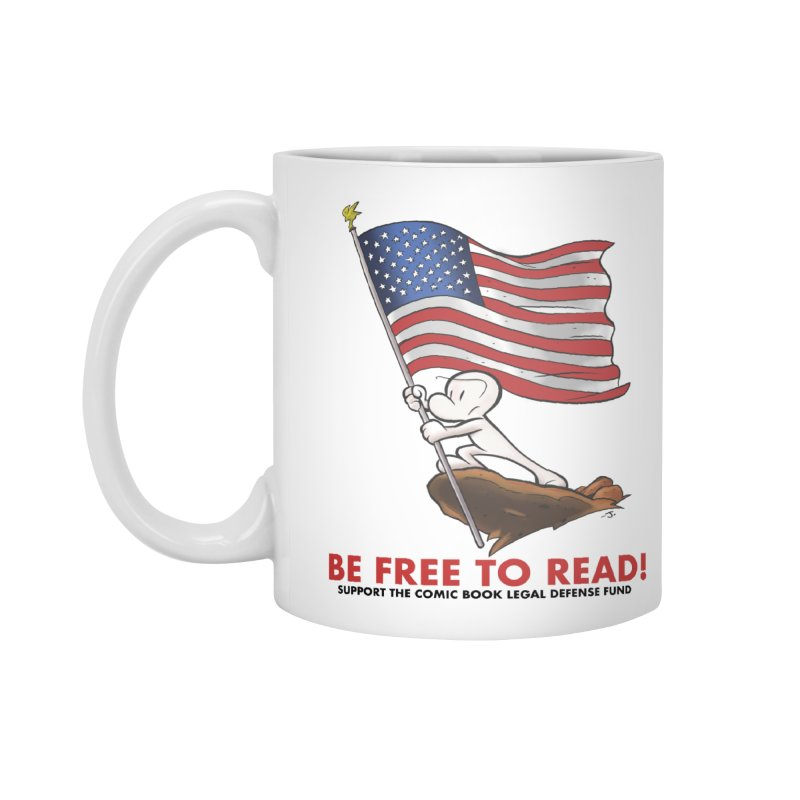 BONE with FLAG by JEFF SMITH Accessories Standard Mug by COMIC BOOK LEGAL DEFENSE FUND