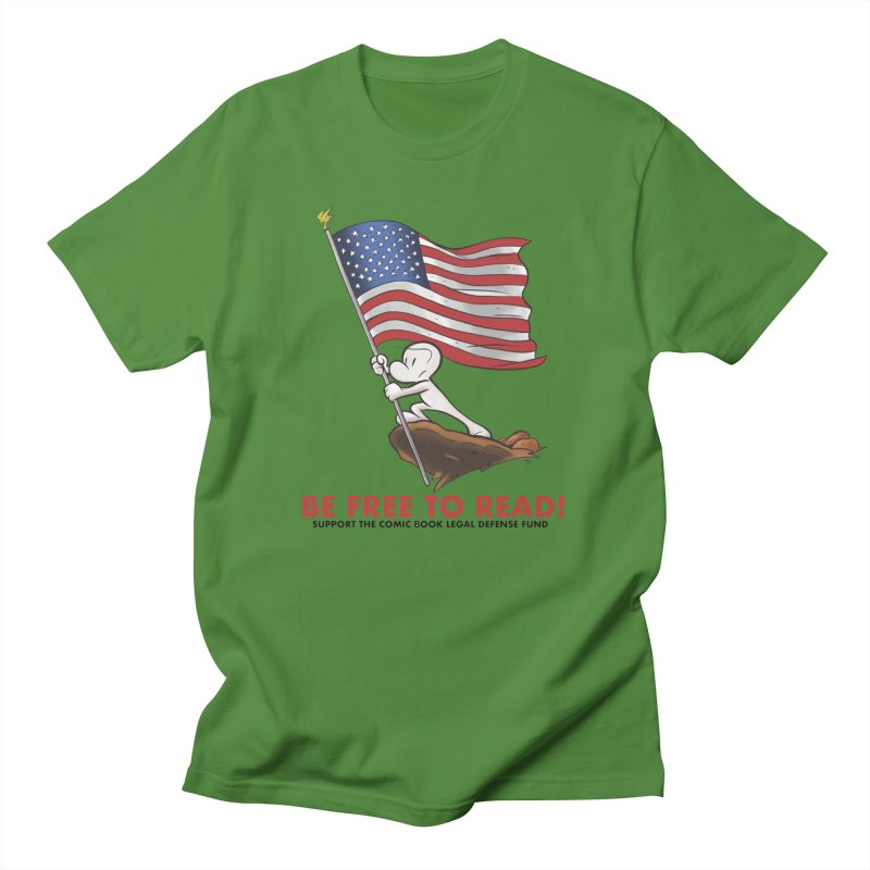 BONE with FLAG by JEFF SMITH Men's T-Shirt by COMIC BOOK LEGAL DEFENSE FUND