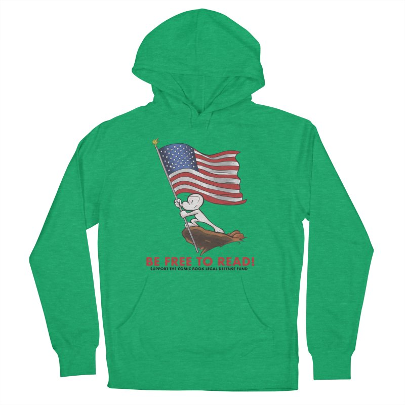 BONE with FLAG by JEFF SMITH Women's French Terry Pullover Hoody by COMIC BOOK LEGAL DEFENSE FUND