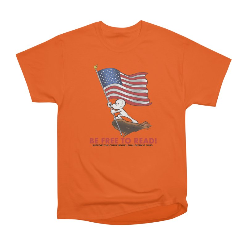 BONE with FLAG by JEFF SMITH Men's Heavyweight T-Shirt by COMIC BOOK LEGAL DEFENSE FUND