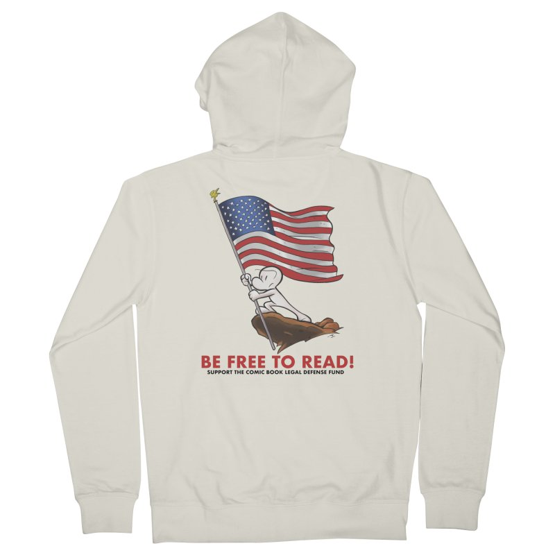 BONE with FLAG by JEFF SMITH Women's French Terry Zip-Up Hoody by COMIC BOOK LEGAL DEFENSE FUND