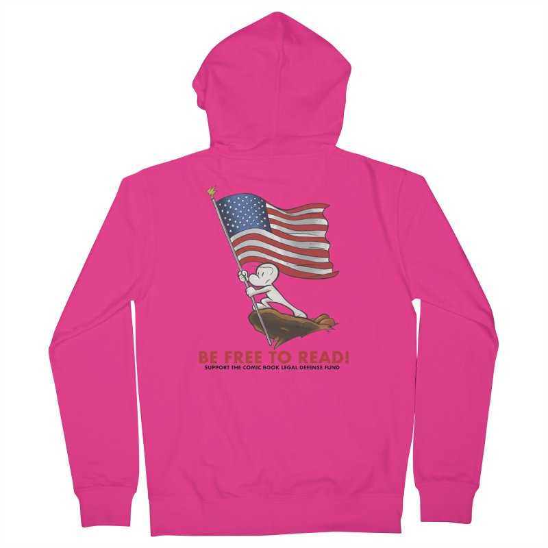 BONE with FLAG by JEFF SMITH Men's French Terry Zip-Up Hoody by COMIC BOOK LEGAL DEFENSE FUND