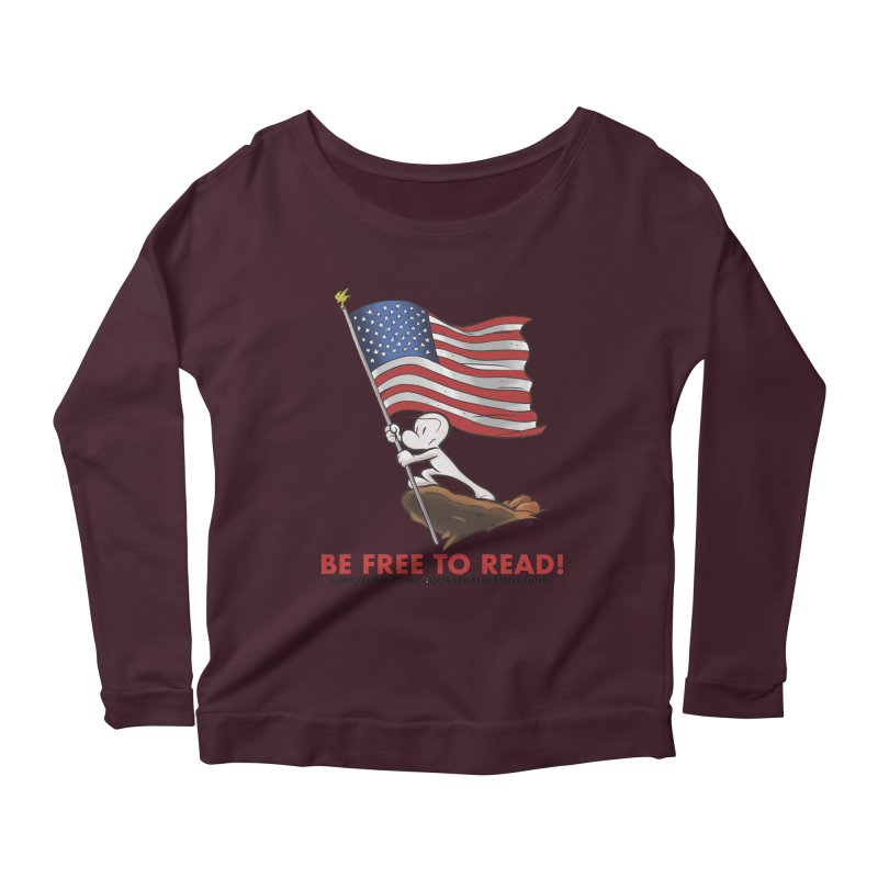 BONE with FLAG by JEFF SMITH Women's Longsleeve Scoopneck  by COMIC BOOK LEGAL DEFENSE FUND