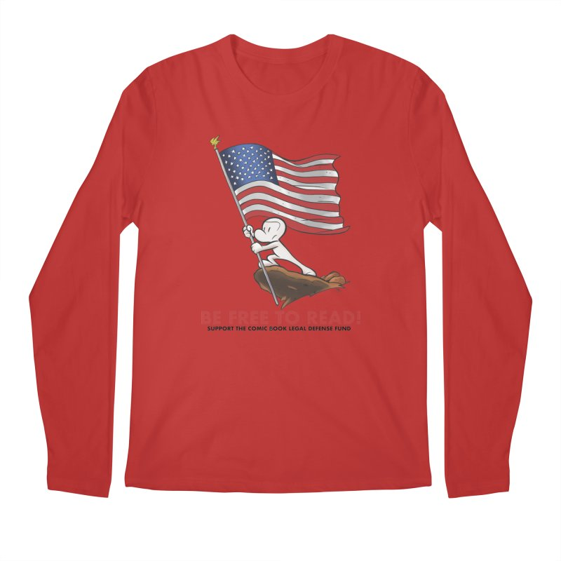 BONE with FLAG by JEFF SMITH Men's Regular Longsleeve T-Shirt by COMIC BOOK LEGAL DEFENSE FUND