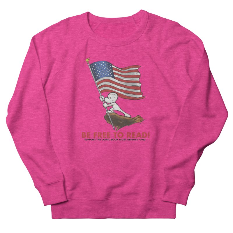 BONE with FLAG by JEFF SMITH Women's French Terry Sweatshirt by COMIC BOOK LEGAL DEFENSE FUND