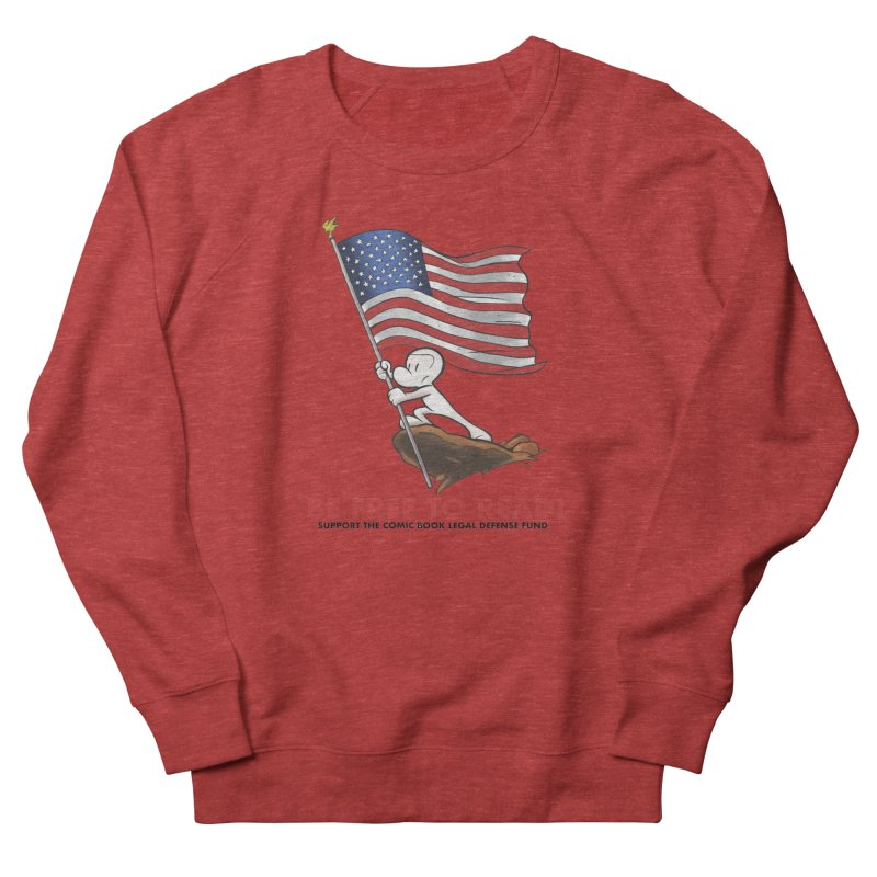 BONE with FLAG by JEFF SMITH Men's French Terry Sweatshirt by COMIC BOOK LEGAL DEFENSE FUND