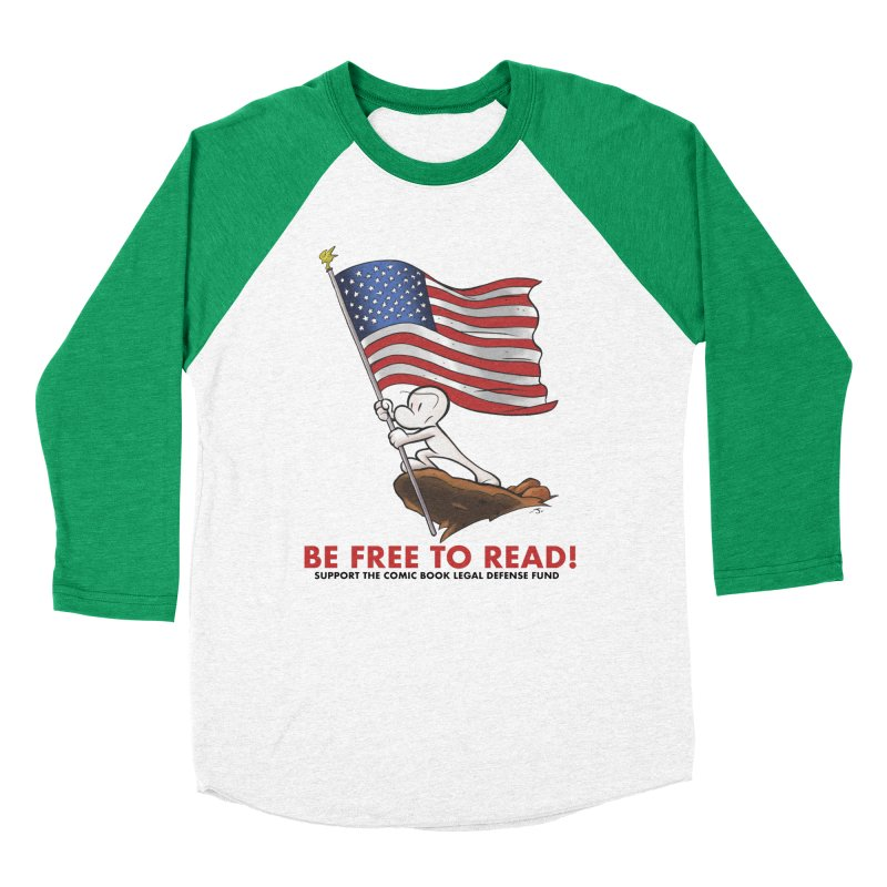 BONE with FLAG by JEFF SMITH Women's Baseball Triblend Longsleeve T-Shirt by COMIC BOOK LEGAL DEFENSE FUND