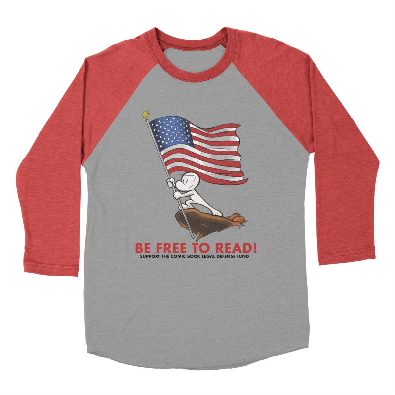 BONE with FLAG by JEFF SMITH Men's Baseball Triblend Longsleeve T-Shirt by COMIC BOOK LEGAL DEFENSE FUND