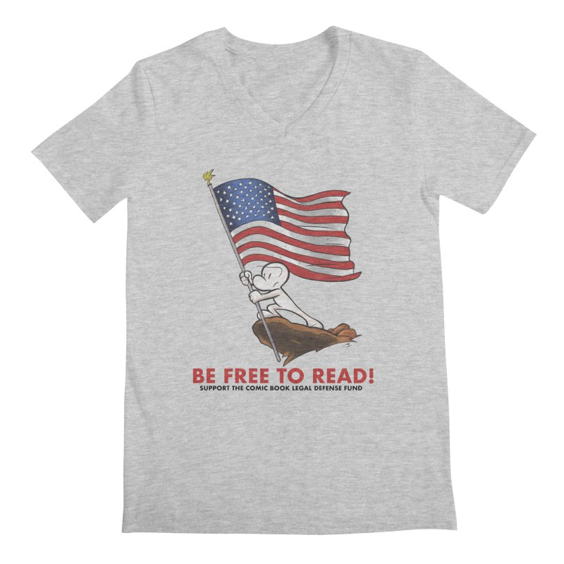 BONE with FLAG by JEFF SMITH Men's V-Neck by COMIC BOOK LEGAL DEFENSE FUND