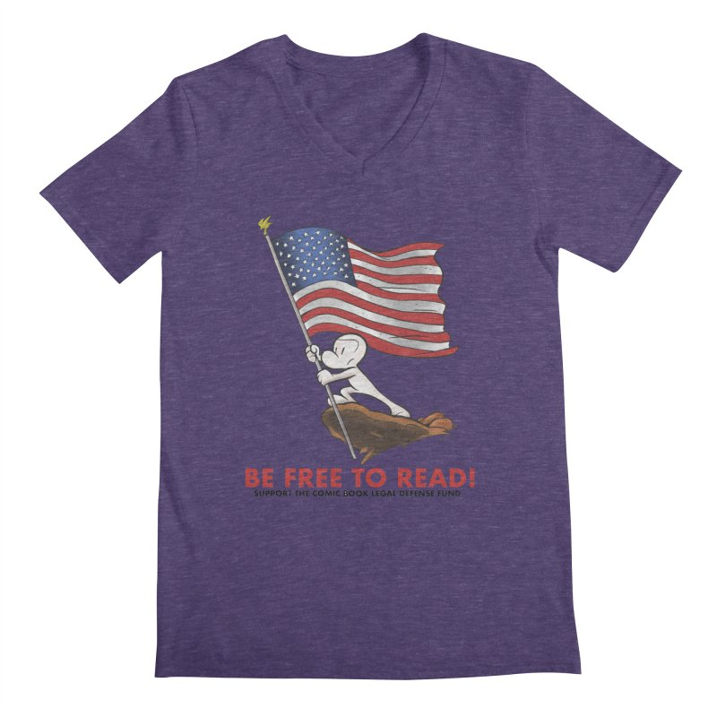 BONE with FLAG by JEFF SMITH Men's Regular V-Neck by COMIC BOOK LEGAL DEFENSE FUND