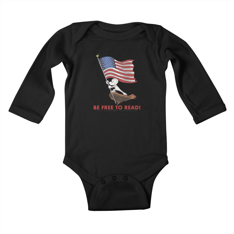 BONE with FLAG by JEFF SMITH Kids Baby Longsleeve Bodysuit by COMIC BOOK LEGAL DEFENSE FUND