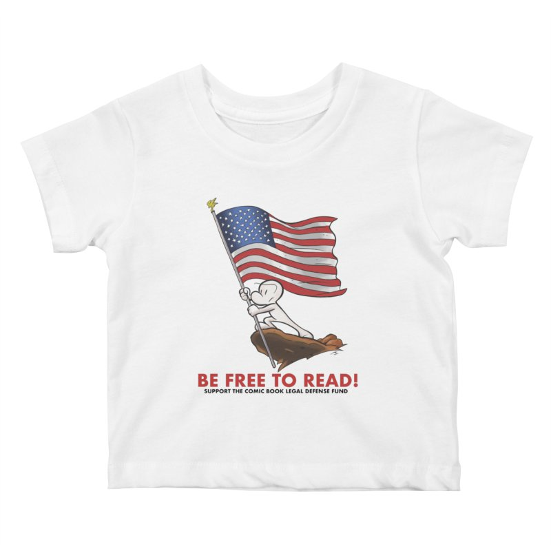 BONE with FLAG by JEFF SMITH Kids Baby T-Shirt by COMIC BOOK LEGAL DEFENSE FUND