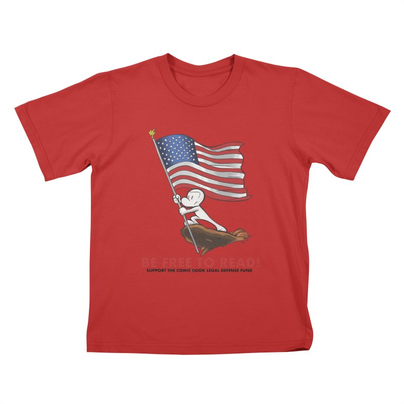 BONE with FLAG by JEFF SMITH Kids T-Shirt by COMIC BOOK LEGAL DEFENSE FUND
