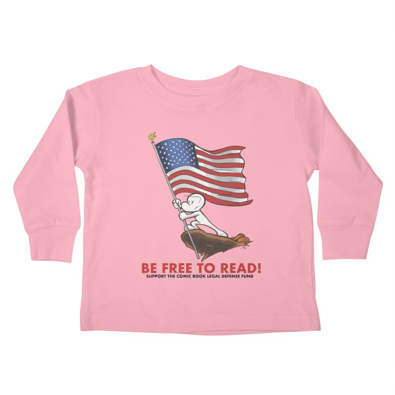 BONE with FLAG by JEFF SMITH Kids Toddler Longsleeve T-Shirt by COMIC BOOK LEGAL DEFENSE FUND